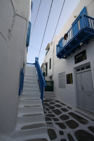 Greek Style House in Blue and White Editorial