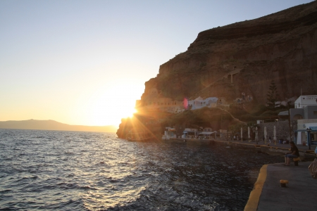 Santorini Island at sunset, Greece Editorial