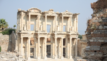 classical greece: Facade of ancient Celsius Library in Ephesus, Turkey