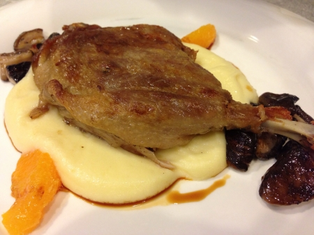 Duck confit roasted duck leg with mashed potatoes Stock Photo