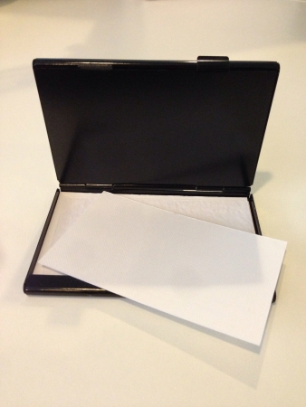 Name card holder with blank business card