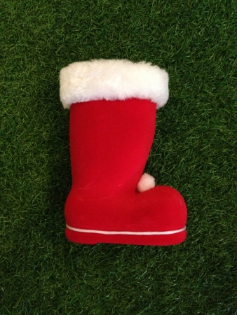 Christmas boot on the grass