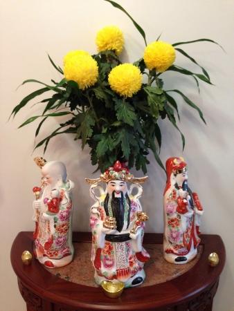 Three Star God Figurines on table