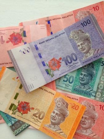 Stack of Malaysia Ringgit bank notes