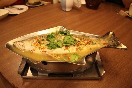 Thai Steamed Fish with Lemon Stock Photo