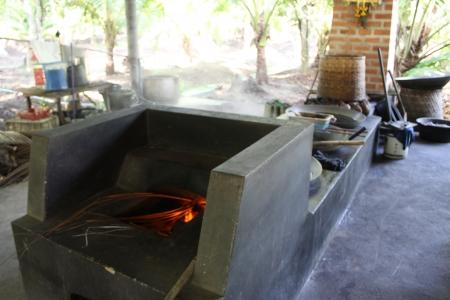 Traditional coconut sugar process Stock Photo