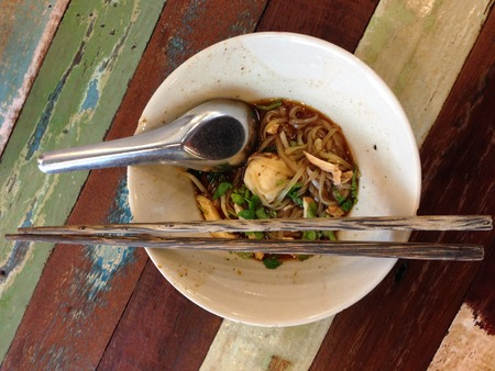 Traditional Thai Boat Noodles Stock Photo