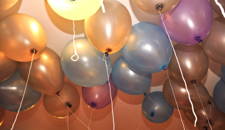 Color background with glossy balloon Stock Photo