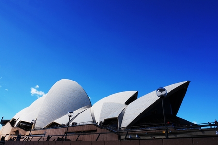 utzon: Sydney, Australia - September 4, 2014: The Sdyney Opera House. The Landmark is a famous arts center. It was designed by Danish architect Jorn Utzon, finally opening in 1973. Editorial