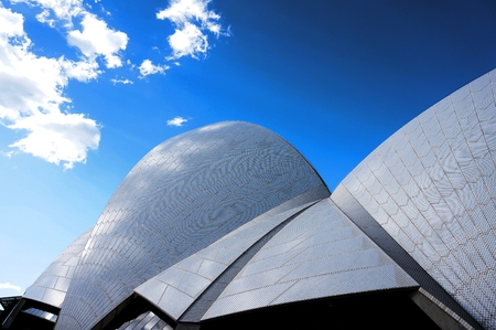 jorn: Sydney, Australia - September 4, 2014: The Sdyney Opera House. The Landmark is a famous arts center. It was designed by Danish architect Jorn Utzon, finally opening in 1973. Editorial