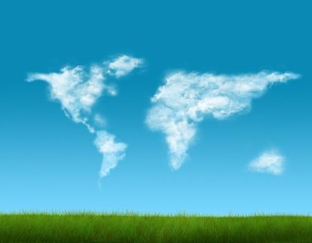 雲の作られた世界地図 写真素材