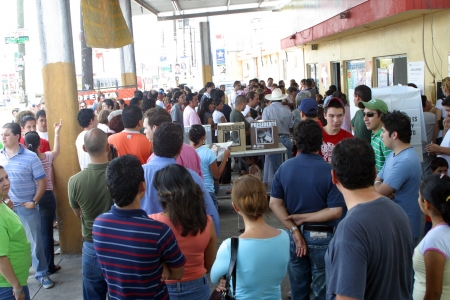 voted: People waiting to vote on mexican Presidential elections
