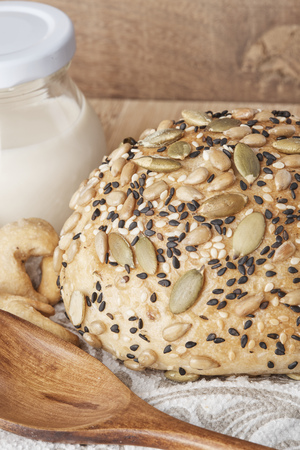 wheat kernel: A Whole wheat Bread with milk Stock Photo