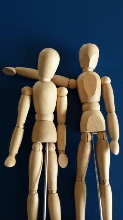 marioneta de madera: a dos t�teres de madera Foto de archivo