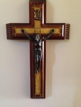 Houten kruis beeld Stockfoto