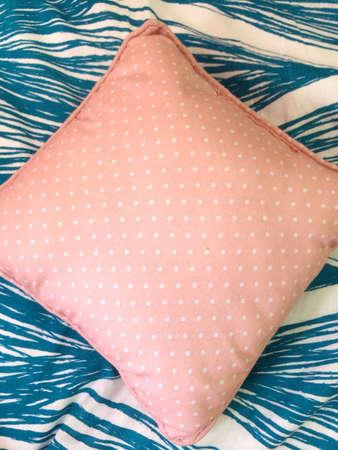 pillows: Pastel pink polka dot pillow