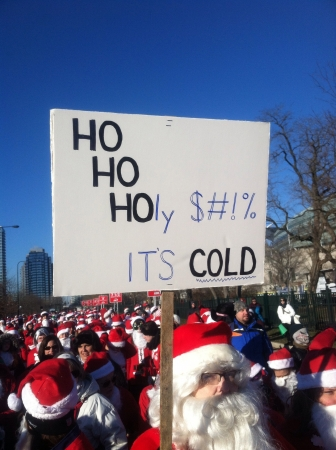 hustle: The Santa Hustle 5k race in Chicago 2013 Stock Photo