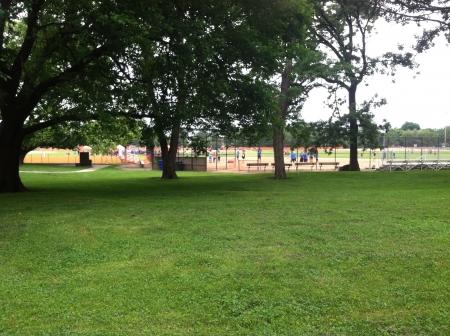 kickball: Baseball field in Lincoln Park chicago