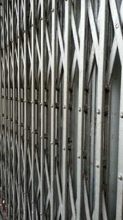 concertina: shopfront metal concertina gates Stock Photo