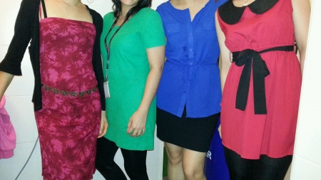 wear: Four office ladies in colourful clothes
