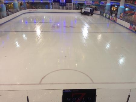 Ice skating rink maintenance Stock Photo