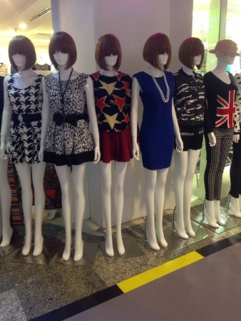Mannequins displaying store clothes