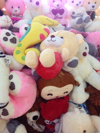 Soft plush toys on display Stock Photo