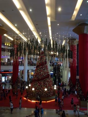 Christmas tree at entrance of shopping mall