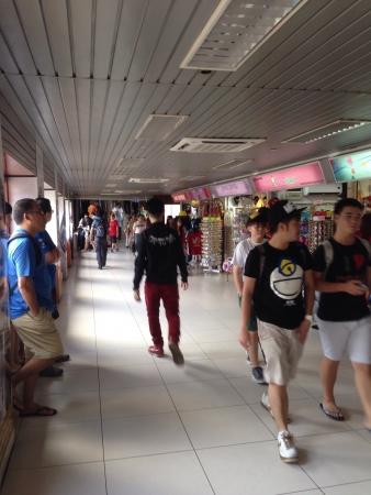 pedestrian walkway: Pedestrian walkway to Berjaya Times Square  Stock Photo