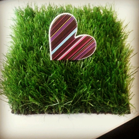 meaningful: Cute colorful heart shaped card on artificial green grass