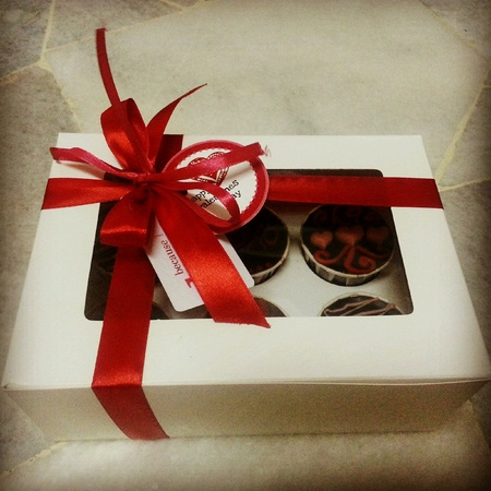 beautifully wrapped: Beautifully wrapped gift box for Valentines Day Stock Photo