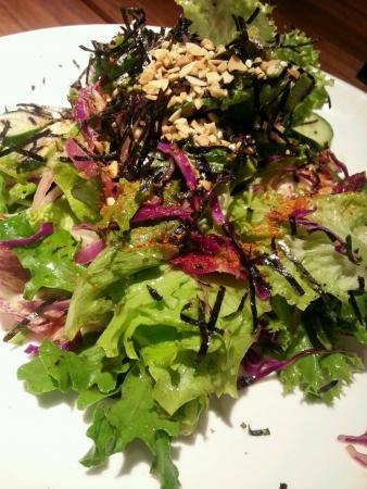 Simple salads on plate