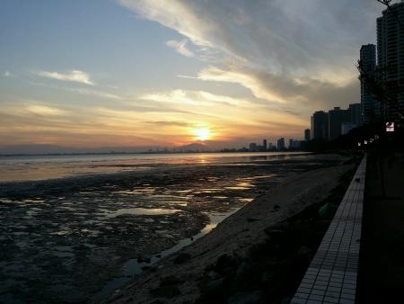 Penang city background of sunrise