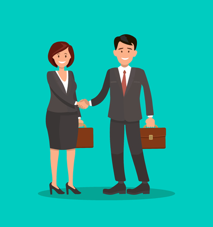 Businesswoman and businessman standing together and shaking hands. Successful business deal or agreement. Project collaboration concept. Two people formal meeting. Flat style vector illustration.