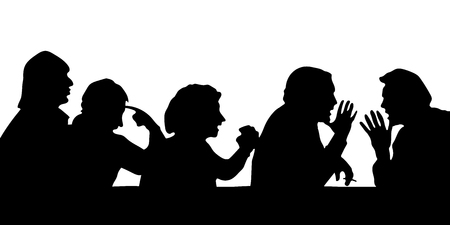 Silhouettes of people arguing with the boss