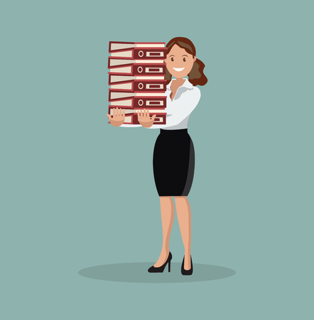 The employee carries a large stack of papers and sheets of paper. Flat design
