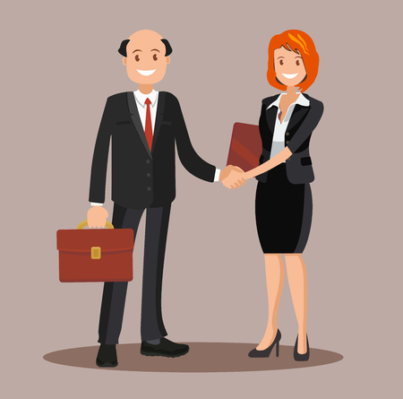 Background vector business cooperation handshake of two business partners vector illustration of a flat design