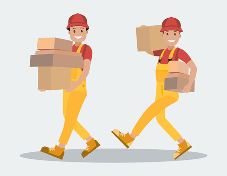 Delivery service. Two workers carry parcels. Young people are couriers with parcels in their hands. The postman, the courier with the package. Style flat. Illustration
