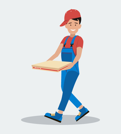 The man hurries to deliver the pizza. Delivery service. The concept of food service. The style is flat.