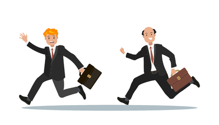 Businessmen in a hurry with a briefcase in his hand. The office worker is late for work. Vector illustration in a flat style.