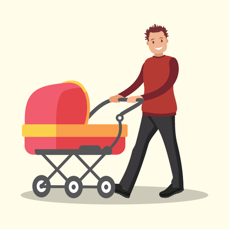 Young dad walking with a newborn that is in the stroller. Ilustração Vetorial