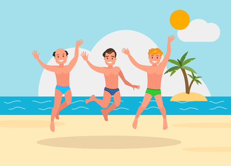 Three young men jumping on the beach background. Reklamní fotografie