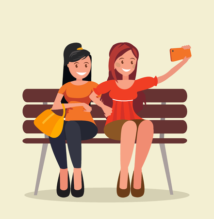 Two girls sit on a bench and take selfies. Vector illustration in cartoon style