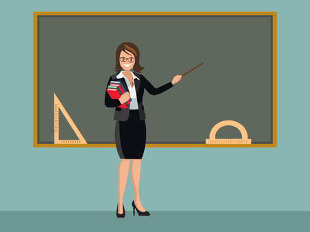 The teacher stands at the blackboard and welcomes students. Flat style vector illustration isolated on white background.