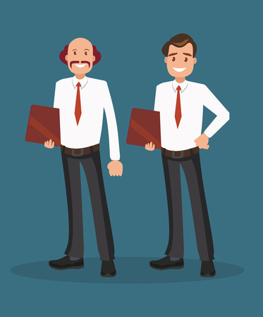 Two successful businessmen in white shirts. A team of entrepreneurs. Vector illustration in flat style  イラスト・ベクター素材