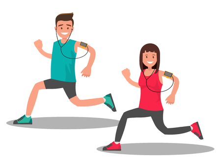 A man and a woman while Jogging. Vector illustration of flat design. Illustration