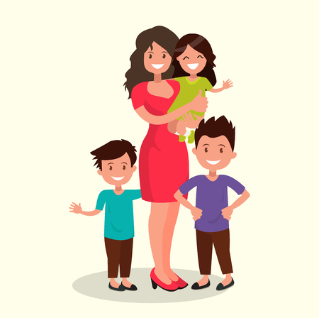Mother of many children with a daughter and two sons. Vector illustration of a flat design.
