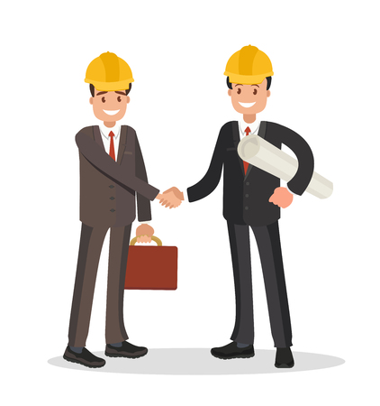 The customer and the contractor. Handshake men dressed in business suits and helmets. Vector illustration in flat style. Vektoros illusztráció