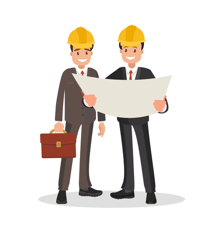 The customer and the contractor. Men dressed in business suits and helmets discussing the project. Vector illustration in flat style.