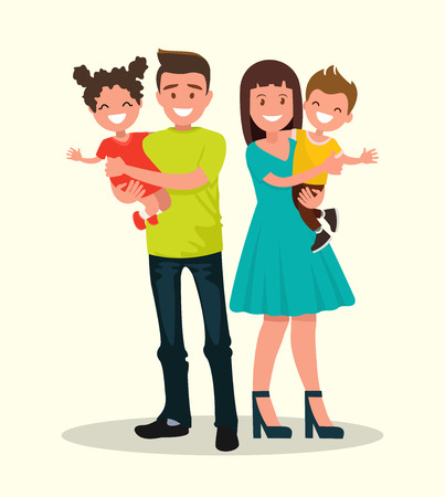 Father, mother, son and daughter. Happy family. Vector illustration of a flat design.
